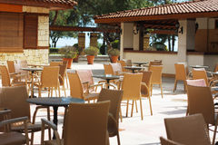 旅馆咖啡馆清早的图象 没人  图库摄影
