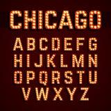 百老汇点燃样式电灯泡字母表 免版税库存照片