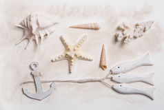 Θερινή θαλάσσια διακόσμηση με τα κοχύλια αστεριών, αγκύρων και θάλασσας Στοκ Εικόνες