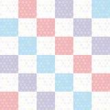 与桃红色淡紫色蓝色正方形的圆点背景无缝的样式 向量 库存图片