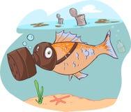 肮脏的海和鱼 库存照片