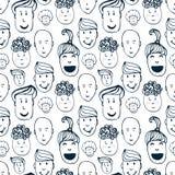 Вручите вычерченному вектору безшовную картину с иллюстрацией группы в составе люди и женщины Толпа смешной предпосылки людей Стоковые Фотографии RF