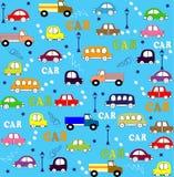 Διανυσματικά άνευ ραφής φορτηγά, λεωφορεία και αυτοκίνητα σχεδίων Στοκ Φωτογραφία