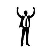 商人剪影激动的举行手  免版税库存照片