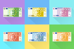 Дизайн банкноты евро установленный плоский с вектором тени Стоковые Фотографии RF