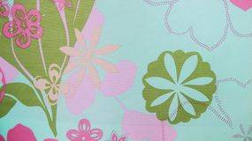 Современная предпосылка ткани цветочного узора Стоковая Фотография