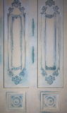 Фото декоративных панелей стены с различными типами орнаментов в форме декоративных рамок и года сбора винограда имитации гнезд Стоковое Изображение RF
