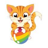 打球的逗人喜爱的布朗猫 库存图片