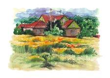 与老农舍的农村水彩风景 库存图片