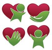 爱健康、心脏、人们和医学标志和象 库存照片