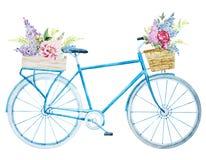 水彩自行车自行车 库存图片