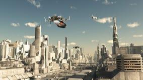 侦察员船着陆在未来城市 免版税库存照片