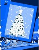 Славная поздравительная открытка рождества в сини Стоковые Изображения RF