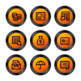πορτοκαλιά σειρά τραπεζικών εικονιδίων Στοκ φωτογραφία με δικαίωμα ελεύθερης χρήσης