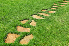 在绿草的石道路 免版税库存照片