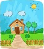 Красивый вид шаржа сельской местности Стоковое Изображение RF