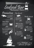 菜单海鲜餐馆标志,海报,黑板 免版税库存照片