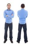 前面和后面观点的蓝色衬衣孤立的阿拉伯商人 免版税库存照片