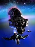 太空飞船和行星 免版税图库摄影