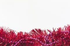 Γιρλαντών πλαίσιο διακοσμήσεων Χριστουγέννων που απομονώνεται ζωηρόχρωμο Στοκ Εικόνα