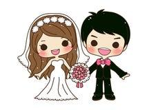 逗人喜爱的夫妇婚礼 库存图片
