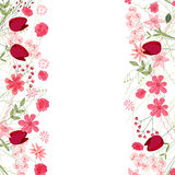详细的等高正方形框架用在白色和野花隔绝的草本、郁金香 您的设计的贺卡 免版税库存图片