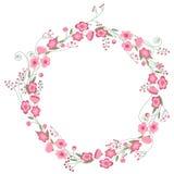 详细的等高花圈用在白色和野花隔绝的草本、玫瑰 您的设计的圆的框架 库存图片