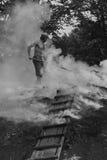 木炭-燃烧器,单色 免版税库存照片