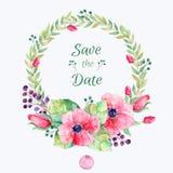 вектор установленный цветками Красочное флористическое собрание с листьями и цветками, рисуя акварелью Стоковая Фотография