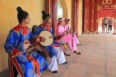 在颜色的传统越南音乐表现事件 库存照片