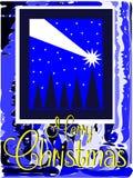 Славная поздравительная открытка рождества в сини Стоковое Изображение