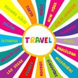 Κολάζ ταξιδιού με τα διαφορετικά ονόματα παγκόσμιων πόλεων Στοκ Εικόνα