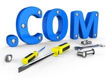 公司的域名表明全球资讯网和用具 库存照片