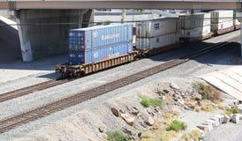 Φορτηγό τρένο με τα εμπορευματοκιβώτια Στοκ εικόνες με δικαίωμα ελεύθερης χρήσης