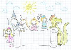 Διανυσματικό έμβλημα με τους χαρακτήρες των παραμυθιών Στοκ εικόνα με δικαίωμα ελεύθερης χρήσης