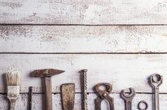 工作工具的混合 免版税库存照片