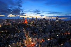 Токио на заходе солнца Стоковые Фотографии RF