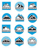 Установленные иконы горы Стоковые Изображения
