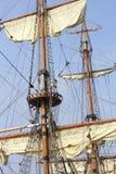 一艘高船的索具 免版税图库摄影