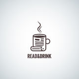 Υπόβαθρο ανάγνωσης έννοιας φλυτζανιών καφέ Στοκ Φωτογραφίες
