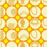 Безшовная предпосылка с символами австралийского аборигенного искусства Стоковая Фотография