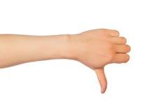 拇指下来递标志 图库摄影