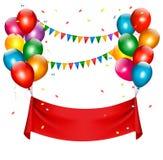 Знамя дня рождения праздника с воздушными шарами Стоковая Фотография RF