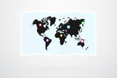 世界地图传染媒介和地图别针 库存图片
