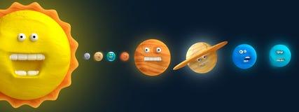 动画片滑稽的行星彩色塑泥或黏土 图库摄影