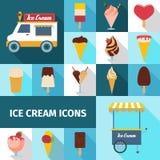 Установленные значки мороженого квадратные Стоковые Фото