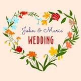 与心脏花卉框架的婚礼邀请 免版税库存照片