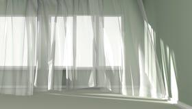 Современный интерьер комнаты с белыми занавесами и солнечным светом Стоковые Изображения RF