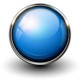 蓝色按钮例证发光的向量 免版税库存照片