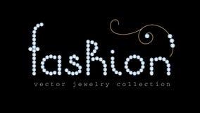 Έμβλημα μόδας με τις επιστολές κοσμήματος διαμαντιών Στοκ Φωτογραφίες